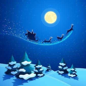 Frohe weihnachten naturlandschaft mit weihnachtsmannschlitten und rentieren auf dem mondhellen himmel. winterferien grußkarte. hintergrund