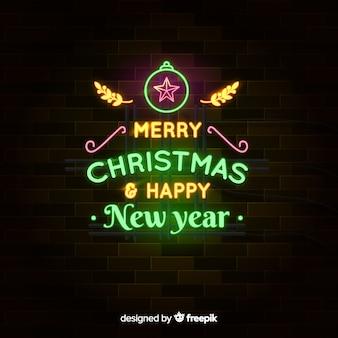 Frohe weihnachten neon & happy new year background