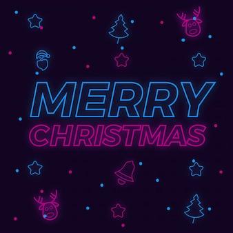 Frohe weihnachten neon hintergrund