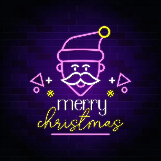 Frohe weihnachten neon seufzer mit weihnachtsmann