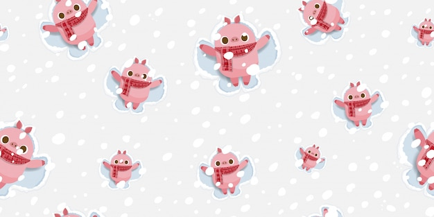 Frohe weihnachten, nettes schwein, das schneeengelmuster macht.