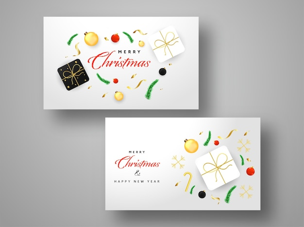Frohe weihnachten & neujahr grußkarte oder horizontale vorlage set auf grauem hintergrund