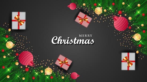 Frohe weihnachten neujahr hintergrund festliche glaskugel winterprüfungen