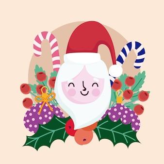 Frohe weihnachten niedlich santa zuckerstangen holly berry dekoration