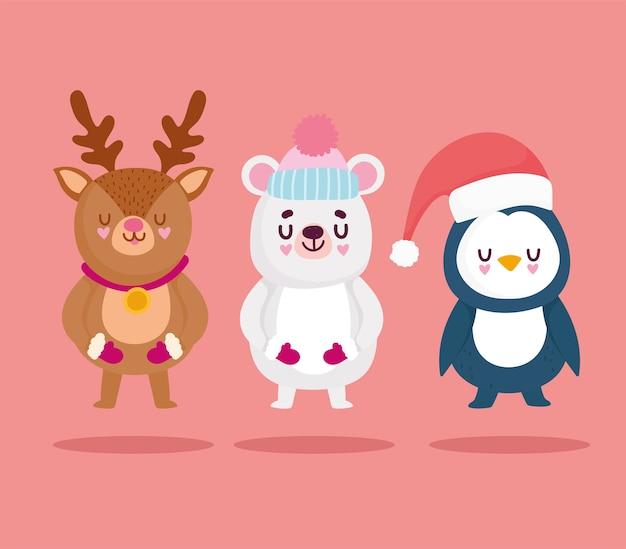 Frohe weihnachten, niedliche bärenpinguin-rentier-tierfeierkartenvektorillustration
