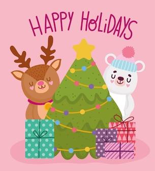 Frohe weihnachten, niedliche bärenrentierbaumgeschenkfeier, frohe feiertagskartenvektorillustration
