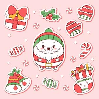Frohe weihnachten niedliche elemente, die aufkleber zeichnen