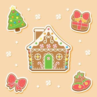 Frohe weihnachten niedliche elemente, die aufkleberglocke, weihnachtsbaum, lebkuchenhaus, bogen und geschenkbox zeichnen