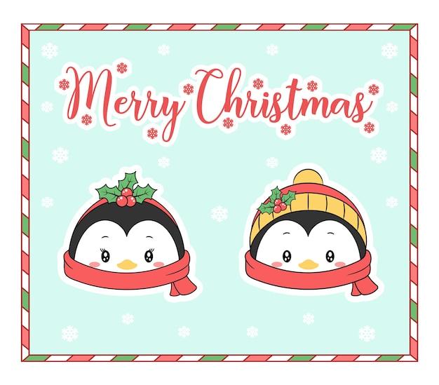 Frohe weihnachten niedliche färbung pinguin zeichenkarte mit schal und schnee für die wintersaison