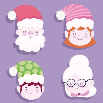 Frohe weihnachten, niedliche gesichter setzen illustration