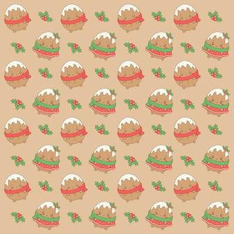 Frohe weihnachten niedliche ingwerplätzchen, die musterhintergrund für geschenkverpackung zeichnen