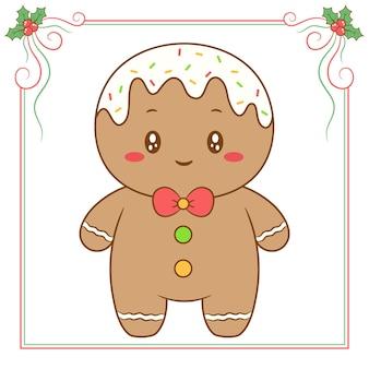 Frohe weihnachten niedliche ingwerplätzchenzeichnung mit rotem beerenrahmen