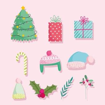 Frohe weihnachten, niedliche karikaturbaumgeschenke zuckerstangenwarme hüte und stechpalmenbeerenikonenillustration