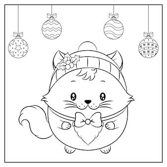 Frohe weihnachten niedliche katze zeichnung mit rotem beerenhut für wintersaison skizze