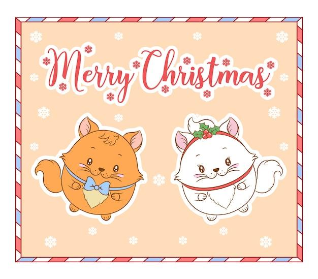 Frohe weihnachten niedliche katzen, die mit roter beerenkarte für wintersaison zeichnen