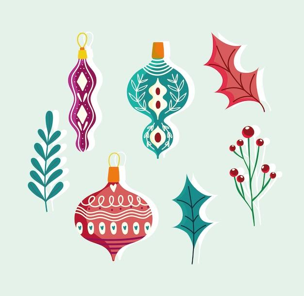 Frohe weihnachten niedliche kugeln blattzweig beeren dekoration ikonen gesetzt