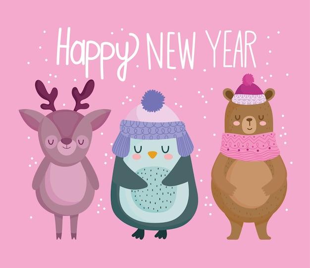 Frohe weihnachten, niedliche pinguin-rentier- und bärentierkarikaturvektorillustration