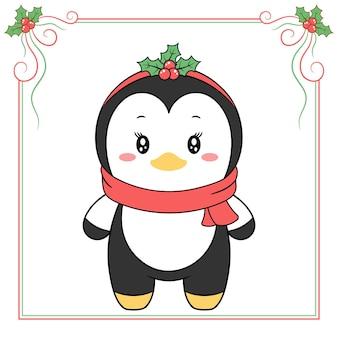 Frohe weihnachten niedliche pinguinzeichnung mit rotem schal
