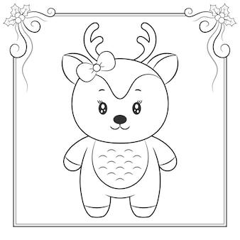 Frohe weihnachten niedliche rentierzeichnung skizze zum ausmalen