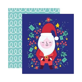 Frohe weihnachten, niedliche santa claus geschenke blumen mistel dekoration feier karte für gruß illustration