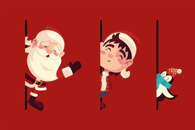Frohe weihnachten niedliche santa pinguin und helfer feier karte illustration