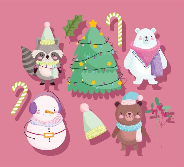 Frohe weihnachten, niedliche tiere tragen schneemann waschbär baum zuckerstange und hut ikonen cartoon illustration