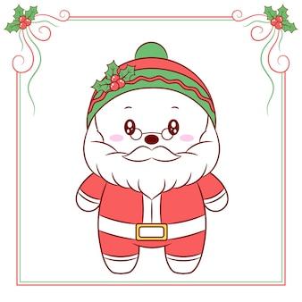 Frohe weihnachten niedliche weihnachtsmannzeichnung mit rotem beerenrahmen