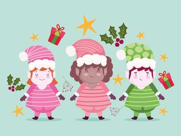Frohe weihnachten niedlichen helfer cartoon dekoration und feier illustration