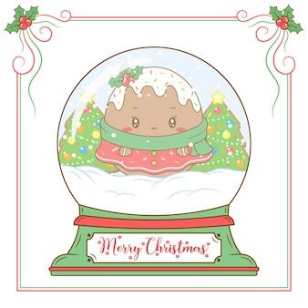 Frohe weihnachten niedlichen ingwer-keks, der schneekugelkarte zeichnet