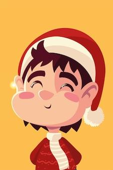 Frohe weihnachten niedlichen kleinen jungen mit santa hut feier illustration