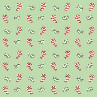 Frohe weihnachten niedlichen roten und grünen süßigkeiten zeichnungsmusterhintergrund für geschenkverpackung