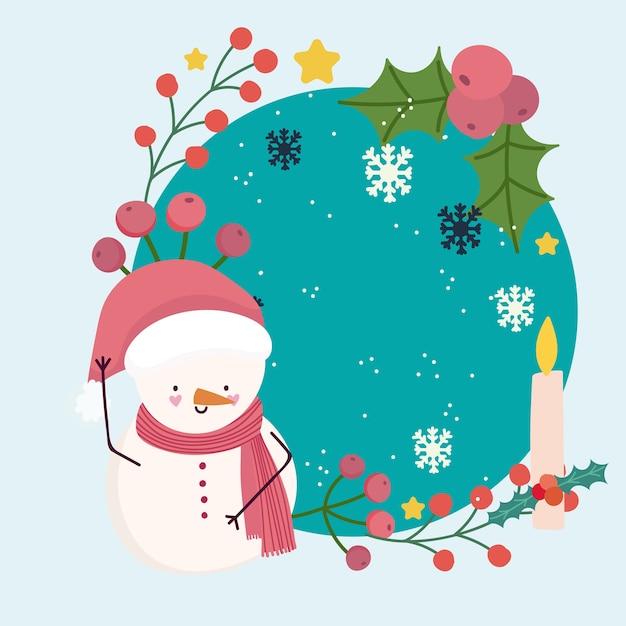 Frohe weihnachten niedlichen schneemann mit kerze schneeflocken stechpalme beerenrahmen
