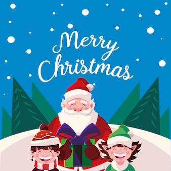 Frohe weihnachten niedlichen weihnachtsmann mit helfer und jungen in der schneelandschaftsgestaltung kartenillustration