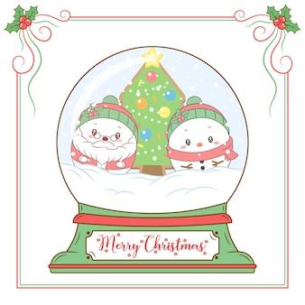 Frohe weihnachten niedlichen weihnachtsmann und schneemann, der schneekugelkarte zeichnet
