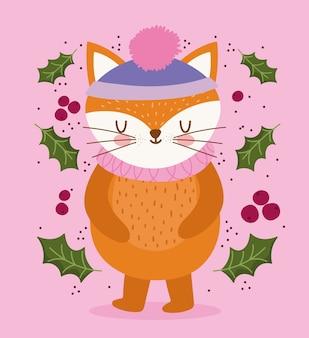 Frohe weihnachten, niedlicher fuchs mit hut und stechpalmenbeerenvektorillustration