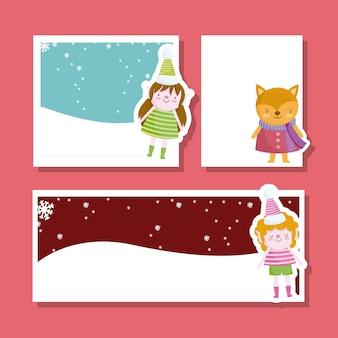 Frohe weihnachten, niedlicher helfer und fuchsgrußkartensatz