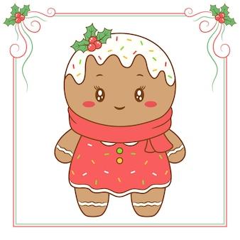 Frohe weihnachten niedlicher ingwerplätzchen mit rotem schal und rotem beerenrahmen
