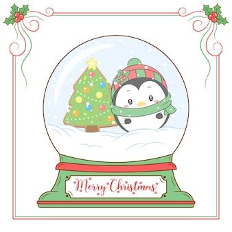 Frohe weihnachten niedlicher pinguin, der schneekugel mit rotem beerenrahmen zeichnet