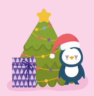 Frohe weihnachten, niedlicher pinguin mit hutbaum und geschenkfeierkartenvektorillustration