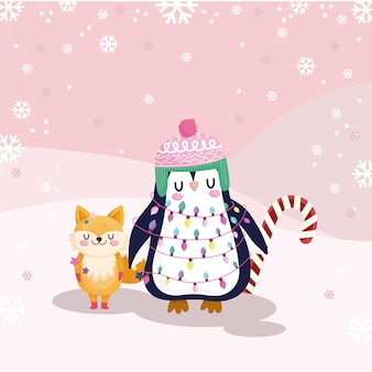 Frohe weihnachten, niedlicher pinguin und fuchs mit zuckerstangenillustration