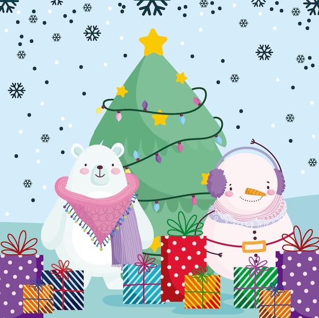 Frohe weihnachten, niedlicher schneemann-eisbär mit geschenken und baum, schneeflockenhintergrundillustration
