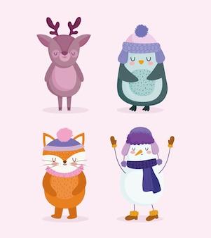 Frohe weihnachten, niedlicher schneemann, pinguin, rentier und fuchskarikatur