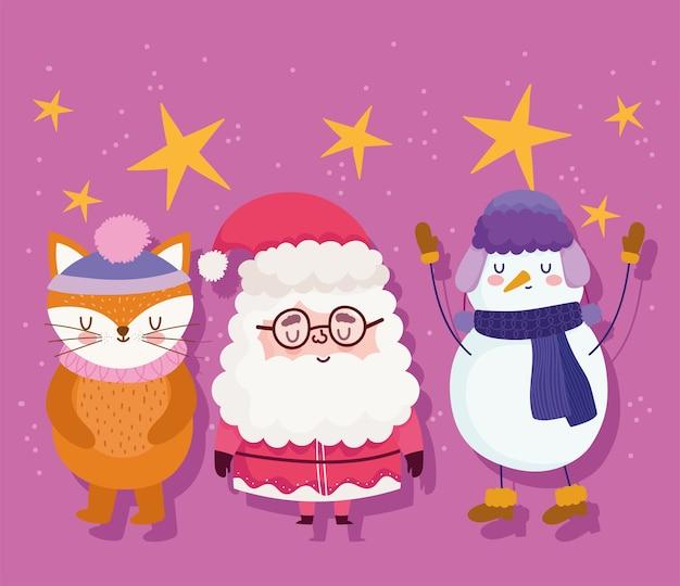Frohe weihnachten, niedlicher weihnachtsmann, fuchs und schneemannkarikaturvektorillustration
