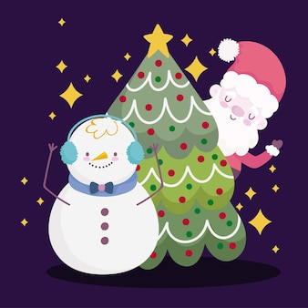 Frohe weihnachten, niedlicher weihnachtsmann und schneemann mit baumschmuckillustration