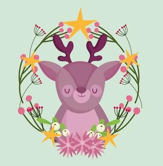 Frohe weihnachten, niedliches rentier in kranzblumen und sternendekorationsvektorillustration