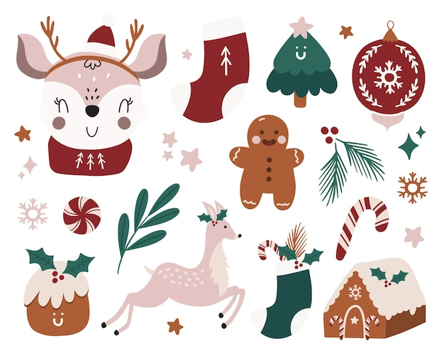 Frohe weihnachten oder fröhliche neue 2021 jahre traditionelle winterelemente.