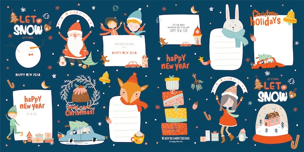 Frohe weihnachten oder frohes neues jahr vorlage mit feiertagsbeschriftung und traditionellen winterelementen. nette hand gezeichnet im skandinavischen stil.