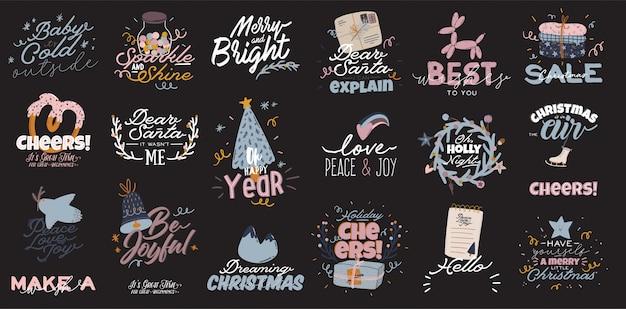 Frohe weihnachten oder glückliches neues 2021 jahr illustration mit feiertagsbeschriftung und traditionellem winterelement. niedliche drucke im skandinavischen stil.
