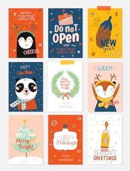 Frohe weihnachten oder happy new 2021 year illustration mit feiertagsbeschriftung und traditionellen winterelementen.