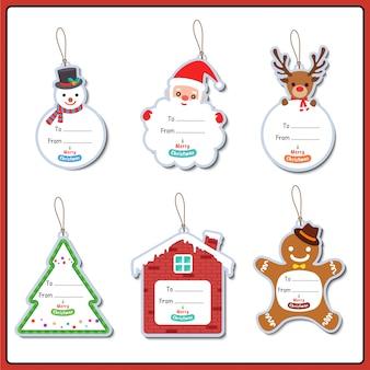 Frohe weihnachten ornamente set-design-tag für grußkarte.